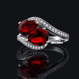 r1037 Marquise-Cut Lab-Created 2 Ruby Charming Vintage-Style Ring in Sterling 925 Silver
