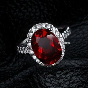 r1035Oval-Cut Lab-Created 2 Ruby Charming Vintage-Style Ring in Sterling 925 Silver