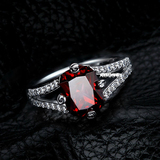 r1038Emerald-Cut Lab-Created Ruby Charming Vintage-Style Ring in Sterling 925 Silver