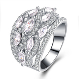 r1030 Fashion Ring Wholesale Sterling 925 Silver Cubic Zirconia 18K Gold Plated Jewelry