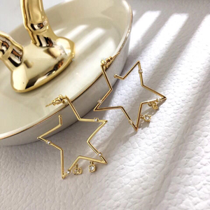 e2019 Star same paragraph 925 silver hollow star earrings five-pointed star tassel long earrings