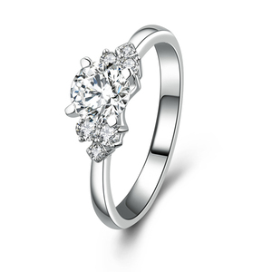 r1015 beauty zircon Hot Jewelry 925 Sterling Silver White Gold Filled Engagement Ring With Charming