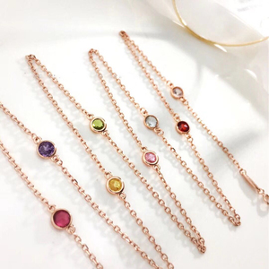 n3033 Light luxury 925 silver necklace inlaid gemstone chain sweater chain long chain crystal chain
