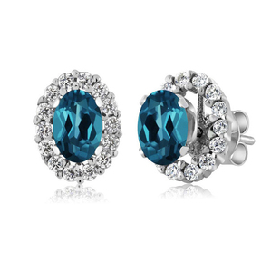 e2001 sterling silver 925 inlaid zircon Color stone earrings design with a small cold wind earrings