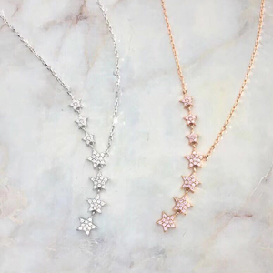 n3035 Light luxury 925 silver necklace inlaid gemstone chain sweater chain long chain crystal chai
