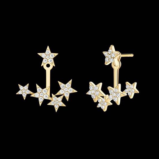 e2016 Dream Star Stud Earrings 925 sterling silver inlaid zircon femininity 2019 new tide ins wind