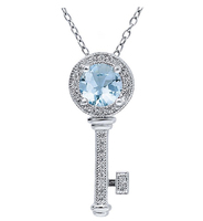 n3010 necklace 925 sterling silver zircon pendant silver necklace  jewelry Color stone key