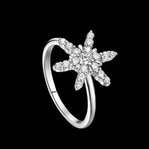 r1045 Fashion simple 925 silver ring inlaid cubic zirconia snowflake ring girl gift