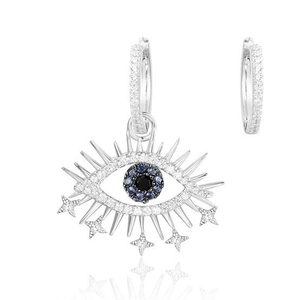 e2006 Personality Lucky Big Eyes  Earrings Female 925 Sterling Silver Micro Zircon Stud Earrings