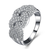 r1028 Fashion Wax Micro Setting Ring Wholesale Sterling 925 Silver Cubic Zirconia 18K Gold Plated Je