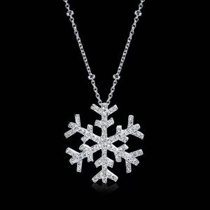 n3031 Sweater chain long paragraph simple clavicle chain wild snowflake pendant neck 925 silver