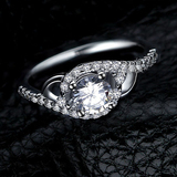 r1018 New Design Hot Sale Jewelry 925 Sterling Silver White Gold Filled Engagement Ring