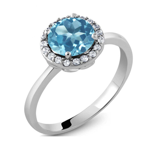 r1001 Colored stone ring fashion zircon 925 silver ring wedding gift birthday