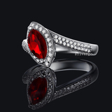 r1026  Marquise-Cut Lab-Created Ruby Charming Vintage-Style Ring in Sterling 925 Silver