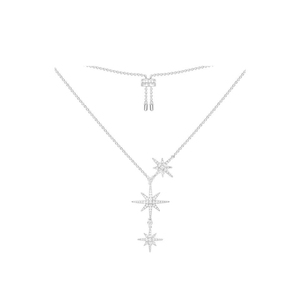 n3029 necklace three stars clavicle chain new 925 sterling silver inlaid zircon ins net red