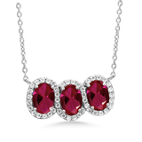 n3011 necklace 925 sterling silver zircon pendant silver necklace  jewelry red Color stone