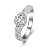 r1025 Jewelry 925 Sterling Silver White Gold Filled Engagement Ring With Charming in Wholesale