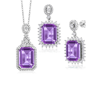 n3026 necklace 925 sterling silver zircon pendant   jewelry Color stone Silver suit set