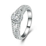 r1040Sterling Silver Jewelry Light Weight Round Cut CZ Wedding Engagement Ring zircon