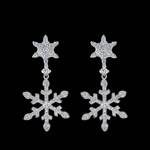 e2017 Star with the earrings female Japanese and Korean micro-inlaid zircon snowflake earrings