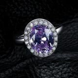 r1034Oval-Cut Lab-Created A Charming Amethyst Vintage-Style Ring in Sterling 925 Silver