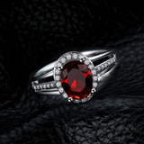 r1036Oval-Cut Lab-Created 2 Ruby Charming Vintage-Style Ring in Sterling 925 Silver