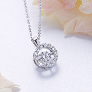 n3005 silver925 sterling silver cubic zircon pendant necklace silver necklace  jewelry birthday gi