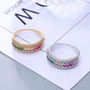 r1046 Fashion simple ring Canton Fair hot style female ring inlaid color zircon wedding couple gift