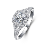 r1043Halo Style Classic Round Cut CZ Shape Engagement Wedding Ring 18K White Gold