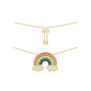 n3030 Rainbow necklace female hot clavicle chain 925 silver net red fashion simple necklace chain