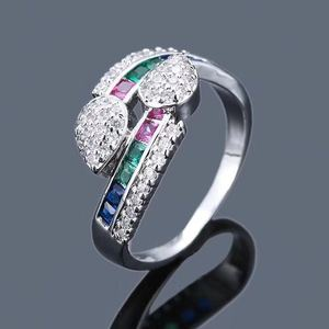 r1047 silver 925 ring set with colored zircon cross animal snake ring wedding ring foreign jewelry
