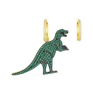e2011 925 sterling silver dinosaur earrings net red with mint green gold personality animal earrings