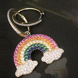 e2009 Earrings product female zircon eardrop, 925 silver earrings rainbow asymmetric personality