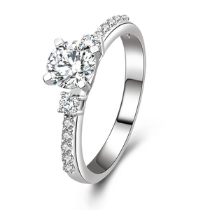 r1013 Hot Sale Jewelry 925 Sterling Silver White Gold Filled Engagement Ring With Charming