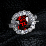 r1027 Cushion-Cut Lab-Created Ruby Vintage-Style Ring in Sterling 925 Silve